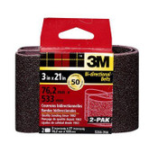 3M Sanding Belt, 9266NA-2, 3 in x 21 in, Coarse, 50 Grit, 6 Packs