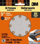 3M Pro-Pak Hookit Abrasive Disc 99147NA, 80 Grit, 5 in 8-hole Discs, Mass Packout 3 Packs