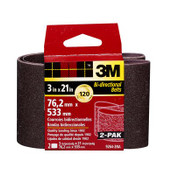 3M Sanding Belt, 9264NA-2, 3 in x 21 in, Fine, 120 Grit, 6 Pack