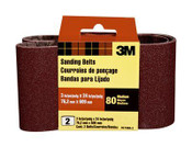 3M Sanding Belt, 9273NA-2, 3 in x 24 in, Medium, 80 Grit, 2 Each 10 Pack