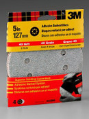 3M Adhesive Backed Discs 9322NA, 5 in, 8 Hole Coarse 40 Grit 4 Each 10 Pack