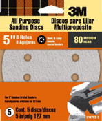 3M Discs 9147ES, 8 Holes, 5 In, Medium, 80 Grit 5 Packs
