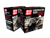 Grip Rite Heavy Duty Contractor Bags, Black, 3 Mil, 42 Gal, 33 in. x 48 in (20 Bags/Box)