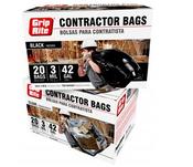 Grip Rite All Purpose Contractor Bags, Black, 3 Mil, 42 Gal, 33 in. x 48 in (20 Bags/Box), #GRAPCBAG20