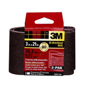 3M Sanding Belt, 9265NA-2, 3 in x 21 in, Medium, 80 Grit, 2 Each 6 Packs