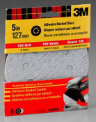 3M Adhesive Backed Discs 9320NA, 5 in, 8 Hole Fine 120 Grit 5 Each 10 Packs