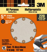 3M Pro-Pak Sanding Disc 99145-NA, 5-inch, 8-Hole, 220 Grit, 15 Each 10 Packs