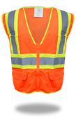 BOSS Poly-Mesh Safety Vest High-Vis Orange w/Tape, Size Small (1 Pair)