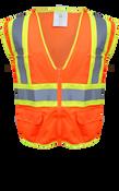 BOSS Poly-Mesh Safety Vest High-Vis Orange w/Tape, Size Medium (1 Pair)