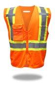 BOSS Polyester Class 2 Vest w/ Right Breast Pocket w/Clear Badge Holder, Size Medium (1 Pair)