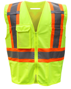BOSS Polyester Class 2 Vest w/Right Breast Pocket w/Clear Badge Holder, Size Large (1 Pair)