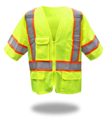 BOSS Polyester Class 3 Short Sleeve Vest w/Zipper & Right Breast Pocket w/ Clear Badge Holder, Size 2XL (1 Pair)