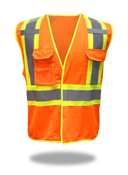 BOSS Polyester Class 2 Tear Away Vest at Shoulders & Side, Left Breast Pocket W/ Clear Badge Holder, Size 4XL (1 Pair)