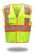 BOSS Polyester Class 2 Tear Away Vest at Shoulders & Side, Left Breast Pocket with Clear Badge Holder, Size 4XL (1 Pair)
