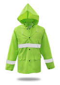 BOSS Fluorescent Green 35mm PVC Poly Lined Rain Jacket with Reflective Trim, Size Medium (1 Pair)