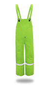 BOSS Fluorescent Green 35mm PVC Poly Lined Overall with Reflective Trim, Size Medium (1 Pair)