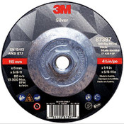3M Silver Depressed Center Grinding Wheel, 36 Grit, 87397, T27 Quick Change, 4.5 in x 1/4 in x 5/8-11 in (20/Pkg.)