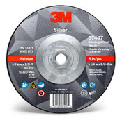 3M Silver Depressed Center Grinding Wheel, 36 Grit, 87447, T27 Quick Change, 6 x 1/4 x 5/8-11 in (20/Pkg.)