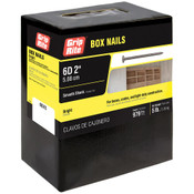 #12-1/2  x 2 in. 6D Penny Bright Steel Box Nail, Smooth Shank (5 lb/Box - 6 Boxes), Grip Rite #6BX5