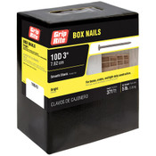 #10-1/2  x 3 in. 10D Penny Bright Steel Box Nail, Smooth Shank (5 lb/Box - 6 Boxes), Grip Rite #10BX5