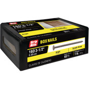 #10 x 3-1/2 in. 16D Penny Bright Steel Box Nail, Smooth Shank (1 lb/Box - 12 Boxes), Grip Rite #16BX1