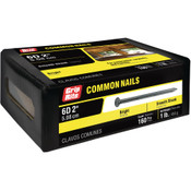 #11-1/2 x 2 in. 6D Penny Bright Steel Common Nail, Smooth Shank (1 lb/Box - 12 Boxes), Grip Rite #6C1