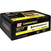 #10-1/2 x 2-1/2 in. 8D Penny Bright Steel Common Nail, Smooth Shank (1 lb/Box - 12 Boxes), Grip Rite #8C1