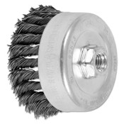 Advance Brush Standard Twist Single Row Cup Brush, 4 in dia, 5/8 in-11 Arbor, 0.023 Carbon Steel Wire, 1 EA, #82523