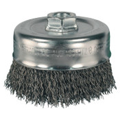 Advance Brush Crimped Cup Brush, 2 3/4 in Dia., 5/8-11 Arbor, 0.014 in Carbon Steel Wire, 5 EA, #82243P