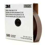 3M 211K Utility Cloth Rolls, 1 1/2 in, 50 yd, 500 Grit, 1 EA