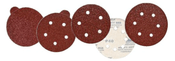 "Aluminum Oxide Red Heavy Discs - PSA Single Discs with Tabs - 5"" x 5 Dust Holes, Grit/ Weight: 320E, Mercer Abrasives 579532 (100/Pkg.)"