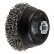 Advance Brush Mini Crimped Cup Brush, 3 1/2 in Dia., 5/8-11 Arbor, .02 in Stainless Steel Wire, 1 EA, #82365