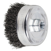 Advance Brush Crimped Cup Brush, 4 in Dia., 5/8-11 Arbor, 0.02 in Steel Wire, 1 EA, #82511