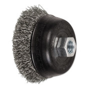 Advance Brush Mini Crimped Cup Brush, 3 1/2 in Dia., 5/8-11 Arbor, .014 Stainless Steel Wire, 1 EA, #82359