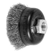 Advance Brush Mini Crimped Cup Brush, 2 3/4 in Dia., 5/8-11 Arbor, .014 Stainless Steel Wire, 1 EA, #82353