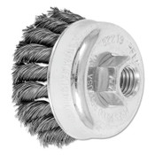 Advance Brush Mini Knot Cup Brush, 2 3/4 in Dia., 5/8-11 Arbor, .014 in Carbon Steel Wire, 5 EA, #82219