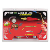 "Goss Feather Flame Air-Acetylene Torch Outfits, 3/16"", Acetylene, Soldering; Brazing, 1 EA, #KA2H"