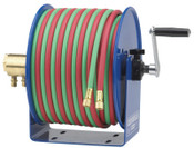 Coxreels Twin-Line Welding Hose Reels, 100 ft, Hand Crank, Hose Included, 1 EA, #112W1100