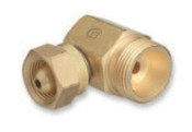 "Western Enterprises Brass Cylinder Adaptors, From CGA-200 ""MC"" Acetylene To CGA-520 ""B"" Tank 90°, 1 EA, #305"