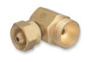 "Western Enterprises Brass Cylinder Adaptors, From CGA-200 ""MC"" Acetylene To CGA-520 ""B"" Tank 90°, 1 EA"