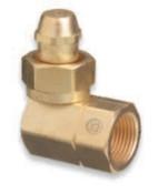 "Western Enterprises Brass Cylinder Adaptors, CGA-520 ""B"" Tank Acetylene To CGA-510 POL Acetylene 90°, 1 EA"