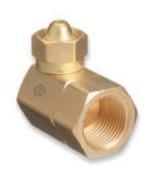 "Western Enterprises Brass Cylinder Adaptors, CGA-200 ""MC"" Acetylene To CGA-510 POL Acetylene 90°, 1 EA"