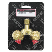 "Gentec CGA Adapters and Valves, ""Y"" Connection, 200 PSI, Brass, 9/16 in - 18, 1 EA"