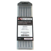 Best Welds 2% Ceria Ground Tungsten Electrodes, 3/16 in Dia, 7 in Long, 1 PK, #3167GC2