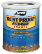 Aervoe Industries Any-Way RustProof Enamels, 1 qt Can, Safety Red, High-Gloss, 4 CA, #301Q