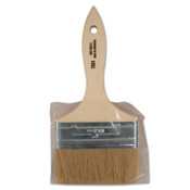 Linzer White Chinese Bristle Paint Brush, 3/8 in Thick, 4 in X Wide, Wood Handle, 12 EA, #15044