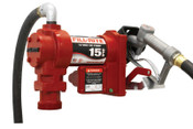 Fill-Rite Rotary Vane Pumps with Hose and Manual Nozzle, 12V dc, 3/4 in, 12 ft Hose, 1 EA, #FR1210G