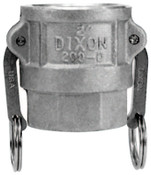 Dixon Valve Andrews Type D Cam and Groove Couplers, 3 in (NPT), Female, Stainless Steel, 5 BOX