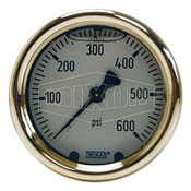Dixon Valve Brass Liquid Filled Gauges, 0 to 400 psi, 1/4 in NPT(M), Center Back Mount, 1 EA