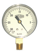 Dixon Valve 2 1/2 in Vacuum Gauge, 30 inHg, ABS, 1/4 in NPT(M), 10 EA